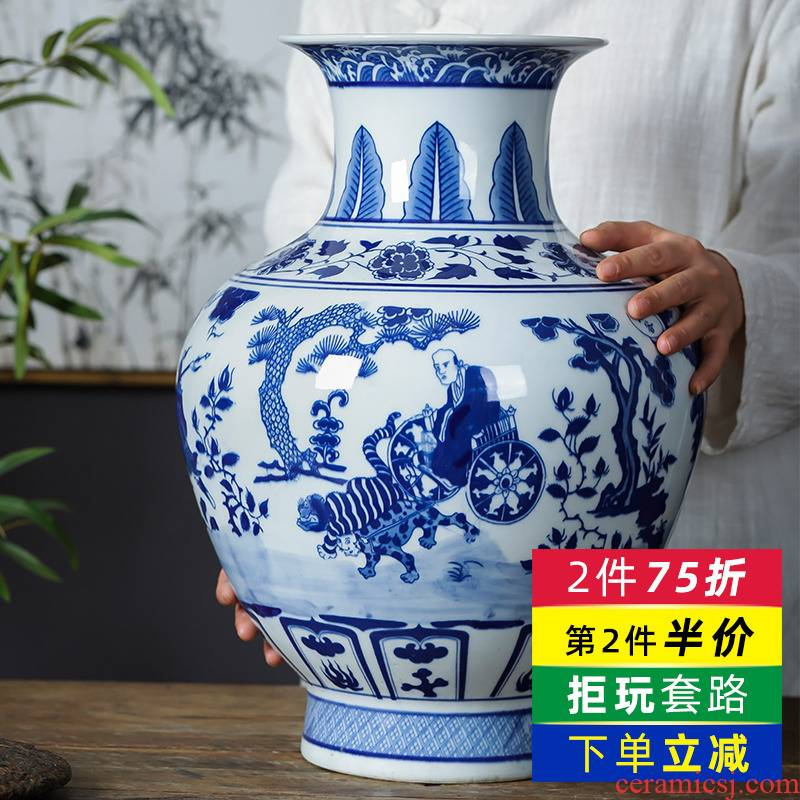 Jingdezhen ceramics archaize inserted yuan blue and white vase furnishing articles sitting room of Chinese style household TV ark adornment ornament
