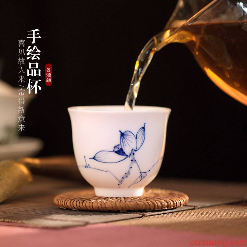 Poly real (view sample tea cup hand - made of blue and white porcelain of jingdezhen ceramic orchid kung fu tea tea set white porcelain cups, small