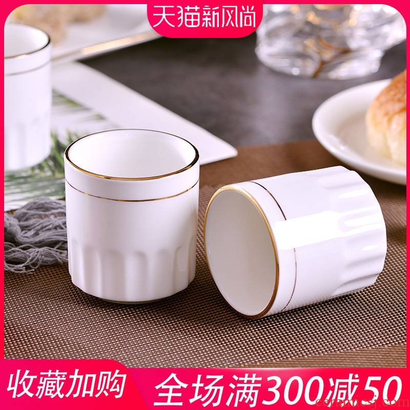 Jingdezhen domestic manual gold 】 【 ipads porcelain drinking cup hotel hotel ceramic cup Chinese style tea cups