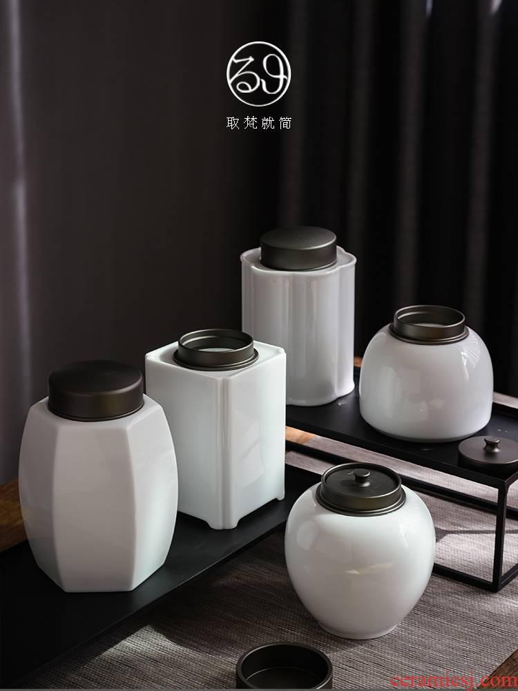 Japanese seal tea pot, household moistureproof jingdezhen ceramic tank storage POTS POTS of tea storage warehouse gift boxes