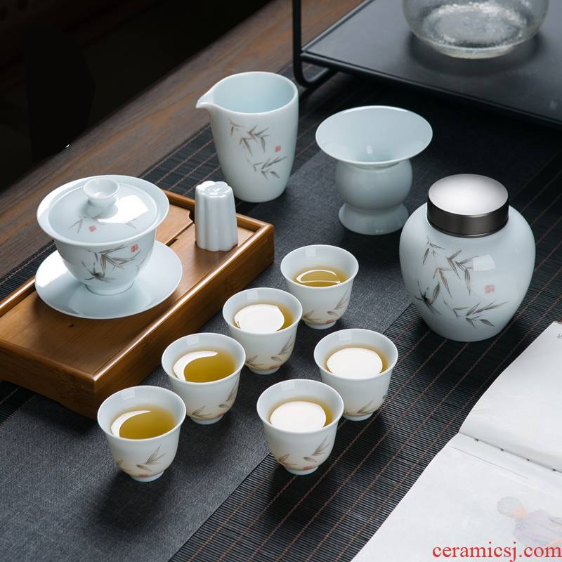 Jingdezhen tea kungfu tea set a complete set of home sitting room is contracted and I ceramic tea cup tea pot