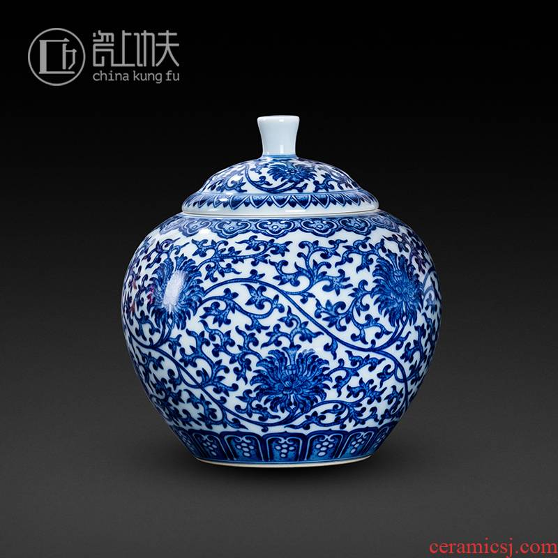 Jingdezhen ceramic tea cover pot of blue and white tie up branch lotus hand - made Chinese style household seal pot large tea storage tanks