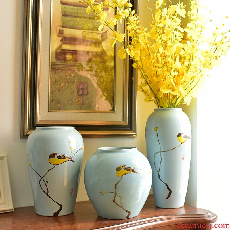 Jingdezhen modern new Chinese style ceramic vases, flower arranging TV ark, place of the sitting room porch decoration dry flower decoration