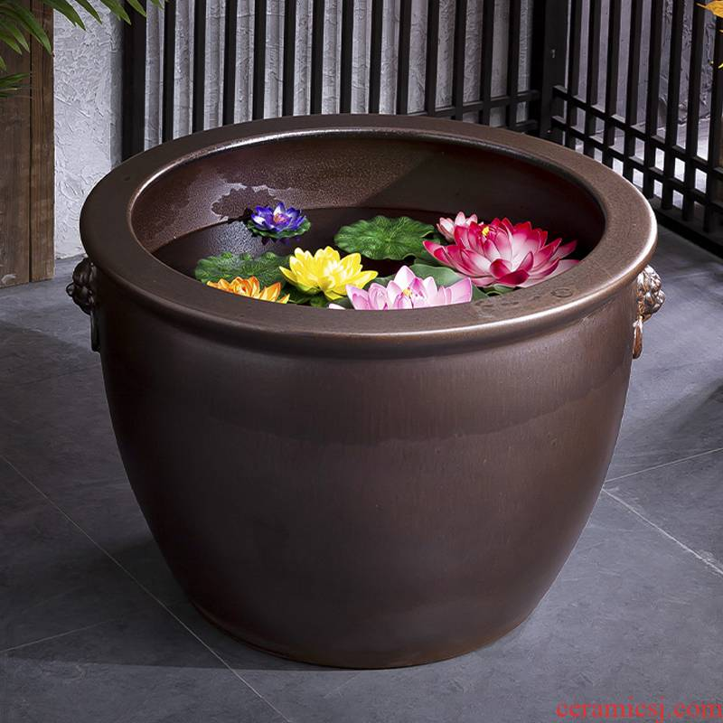 Heavy household fish head Heavy ceramic cylinder aquarium tank big flower pot lotus furnishing articles courtyard garden