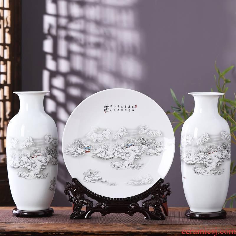 Jingdezhen porcelain ceramic three - piece large vases, flower arranging place, Chinese style household living room TV cabinet decoration