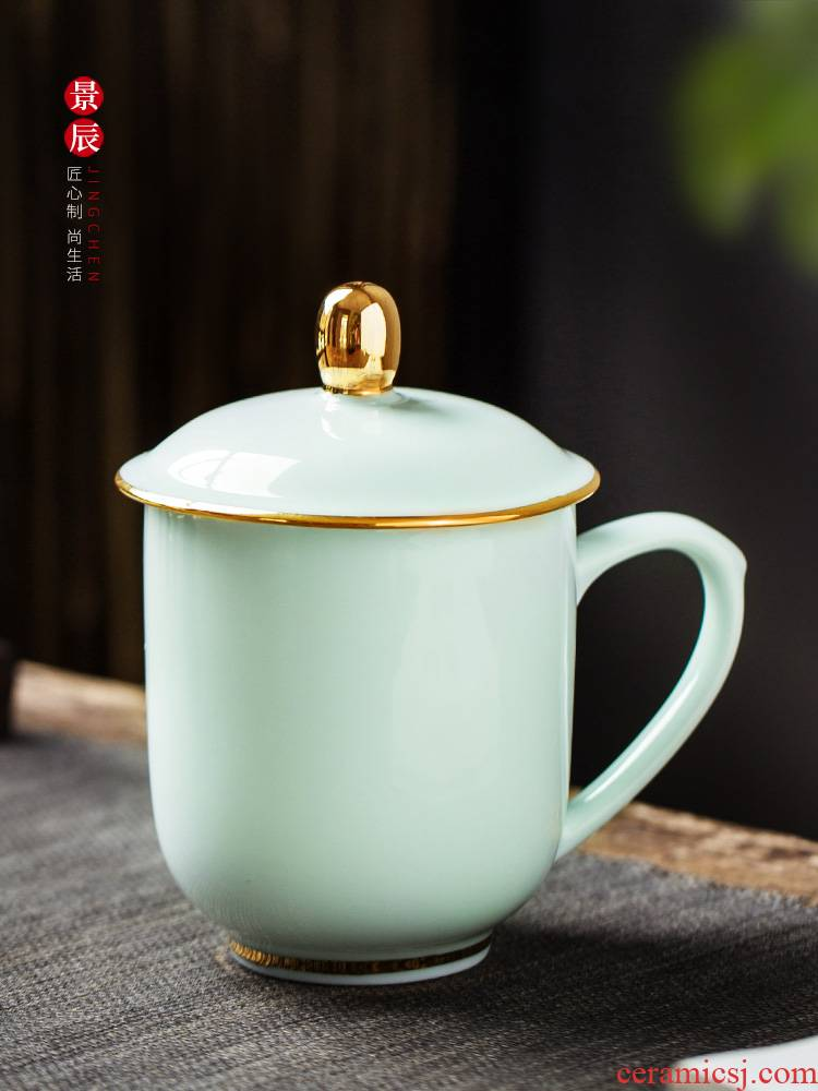 Jingdezhen glaze color shade green ceramic cups with cover household ipads porcelain cup gold cup custom office meeting
