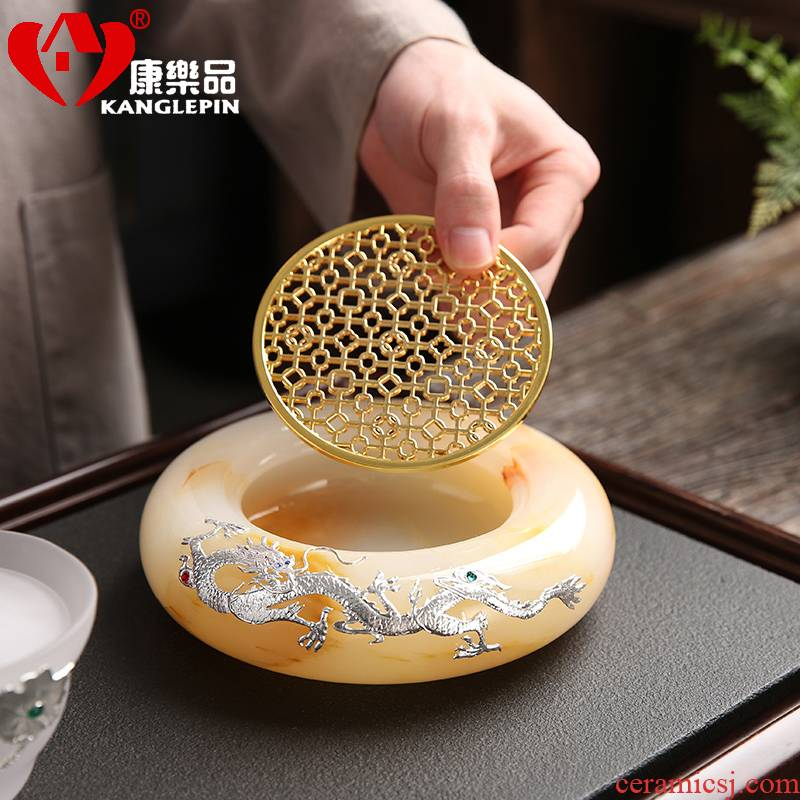 Recreation is tasted Chinese style household jade inlay silver kung fu tea set office receive a visitor the ceramic creative pot bearing character of the atmosphere