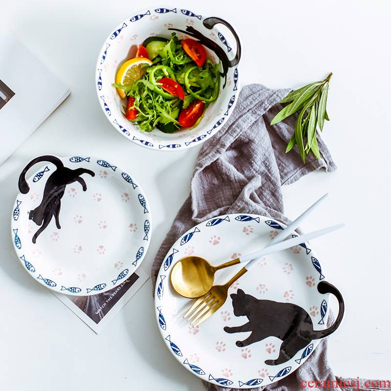 Express cartoon cat ceramic bowl suit creative home four people contracted Japanese dishes dishes chopsticks tableware portfolio