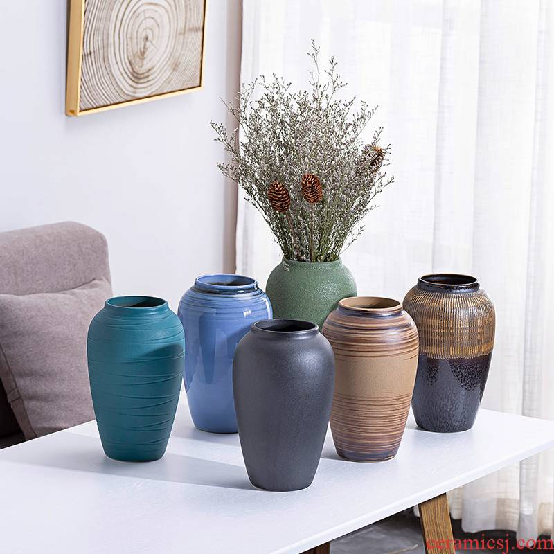 Small and pure and fresh see colour transparent ceramic vase hydroponic other European sitting room of rural household furnishing articles dried flowers in the vase