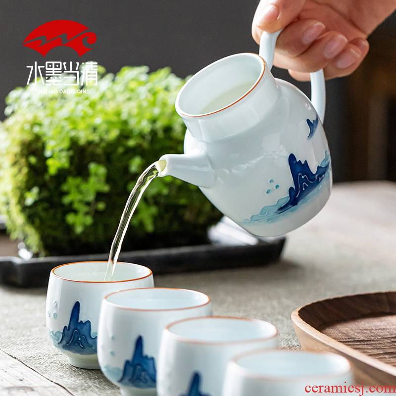 Jingdezhen landscape hand - made tea set of household ceramic tea tureen Chinese kung fu tea cup high - grade office