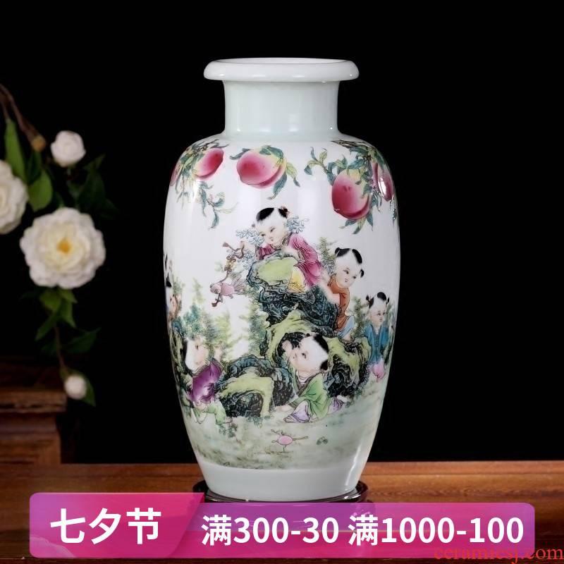Jingdezhen lad offer celebration ceramic vase household living room office study Chinese dried flowers flower arrangement furnishing articles