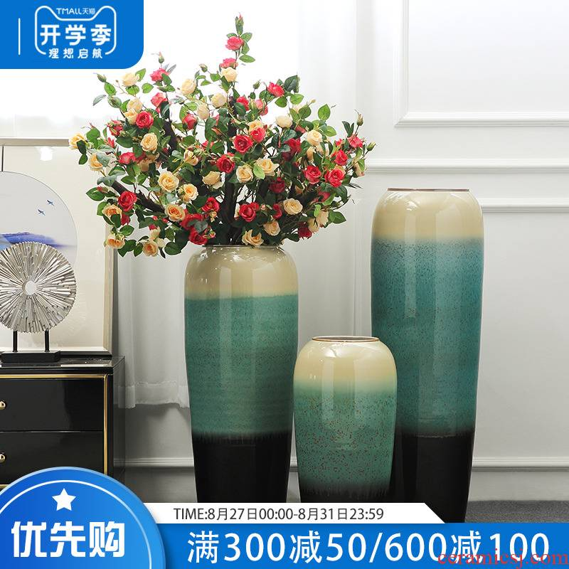 Jingdezhen large landing simulation plant fake flower flower vase furnishing articles European style living room home decoration flowers furnishings