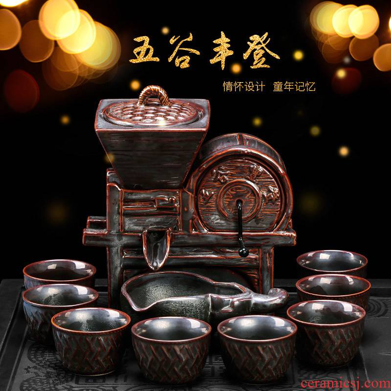 Semi automatic an artifact lazy household creative move cups kung fu tea tea set ceramic Chinese style restoring ancient ways