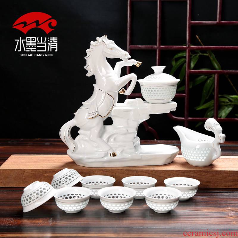 Kung fu half automatic lazy tea set suit household move exquisite tea tea exchanger with the ceramics hollow - out of the office