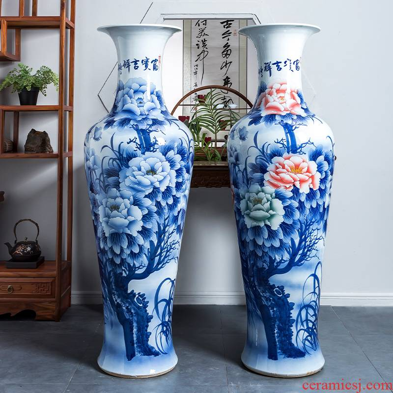 Blue and white porcelain of jingdezhen ceramics furnishing articles sitting room of large vases, large household act the role ofing is tasted Chinese style hotel decoration