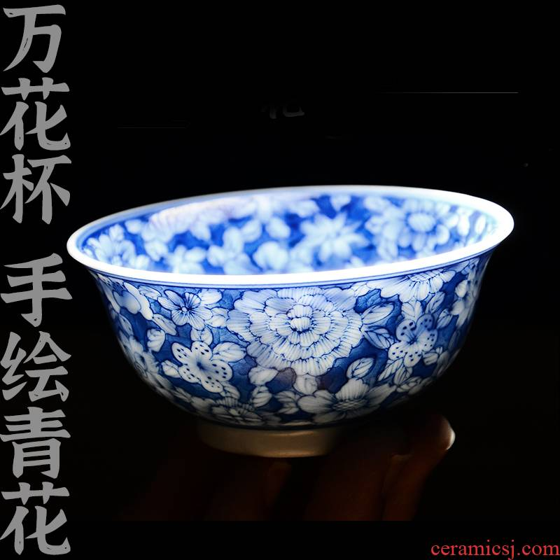 24 is hand draw blue and white porcelain teacup manual kung fu tea master single CPU jingdezhen ceramic cups of tea