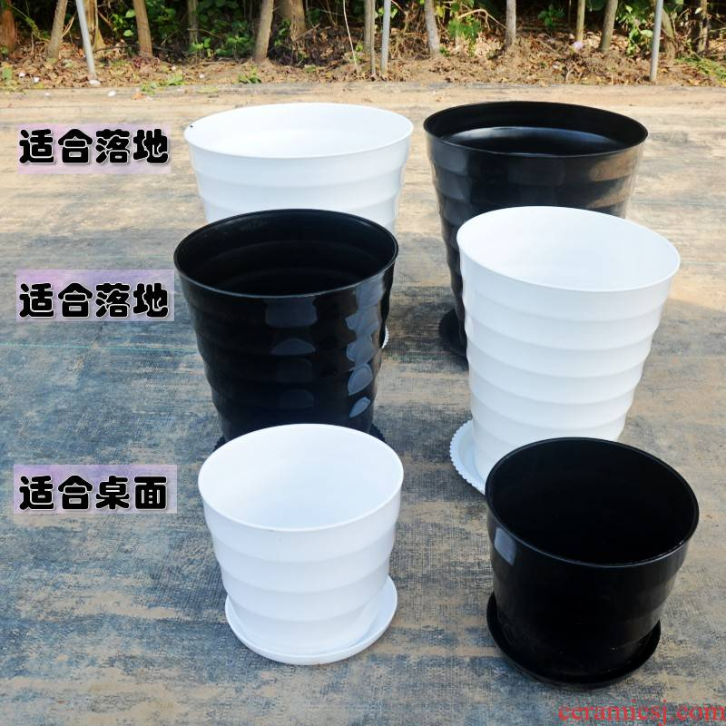 Imitation ceramic plastic thickening contracted landing high round black and white thread extra large household plastic flower POTS