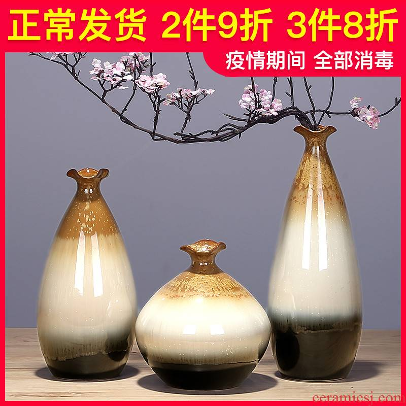 Ceramic vase manual creative living room TV ark, I and contracted household adornment simulation flower arranging dried flowers furnishing articles