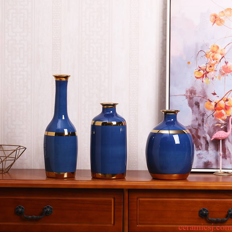 I and contracted blue ceramic vases, creative home furnishing articles sitting room flower arrangement of TV ark, wine porch decoration