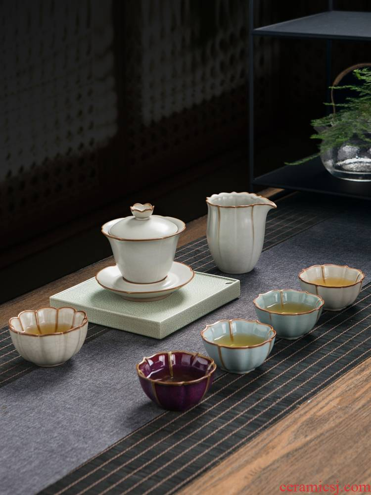 Jingdezhen your up on kung fu tea set suit small household set of portable contracted ceramic cups tureen teapot