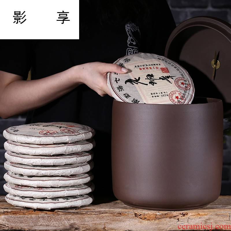 Yixing purple sand tea pot seven loaves manual large puer tea tea urn storage waking seal pot tea promotion GF