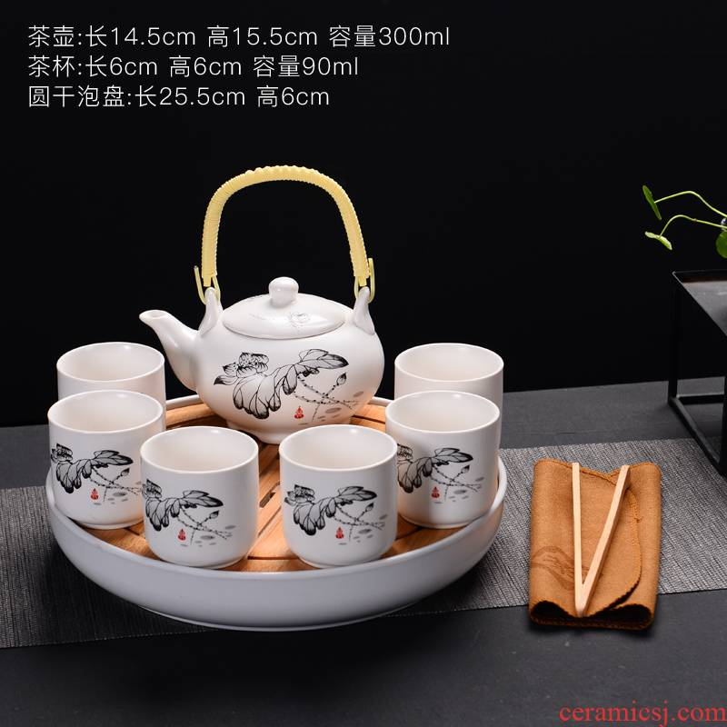 Ceramic tea tray was large storage consolidation set of household heat insulation double circular dry mercifully kung fu tea set