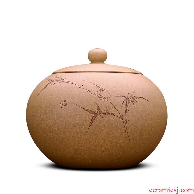 Shadow at yixing purple sand tea pot is carved painting HZ medium bucket of pu - erh tea and tea storage tanks