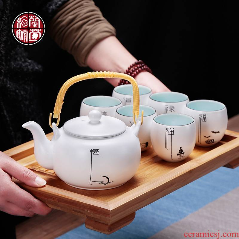 Kung fu tea sets tea tray was home sitting room is contracted and I 6 family ceramics with a complete set of tea cups
