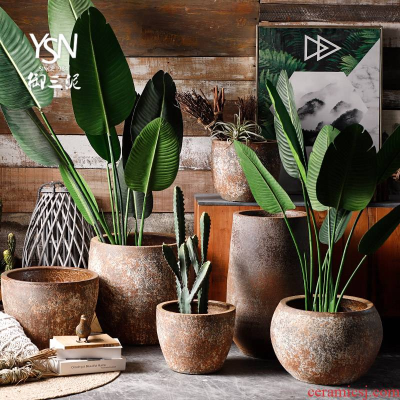 Royal three clay earthenware flowerpot courtyard garden green plant restoring ancient ways ceramic tank flowerpot flower bed pure manual pot planting