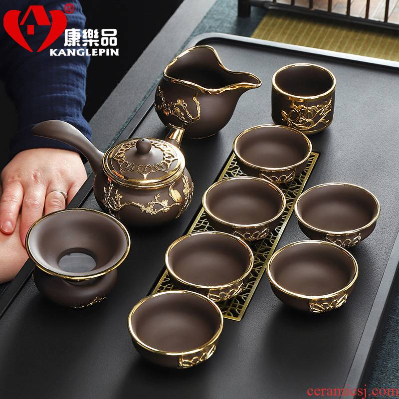 Recreational product side teapot kung fu tea sets suit violet arenaceous an inset jades ceramic cups household masters cup 11