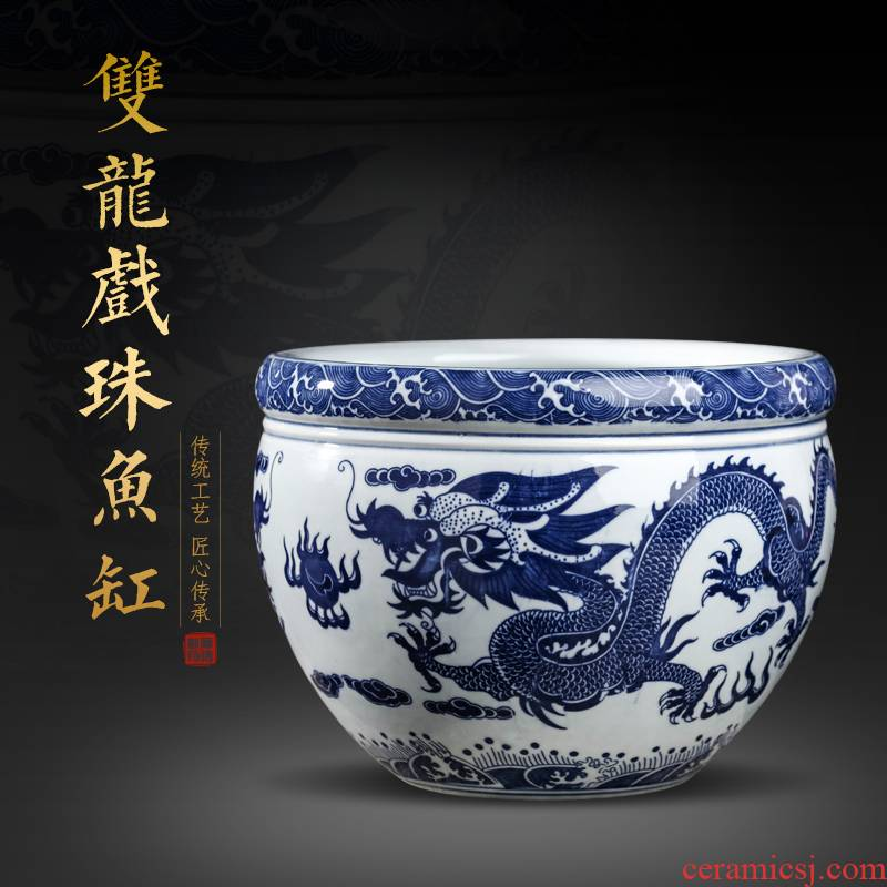Blue and white porcelain of jingdezhen ceramics flower POTS of gold fish water raise grass cooper water lily always LianHe flowers cylinder home furnishing articles