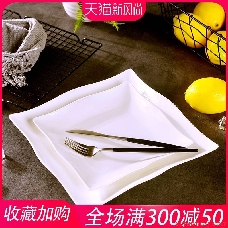 Jingdezhen European - style originality west person order to suit the hotel ceramic plate household square new ipads China