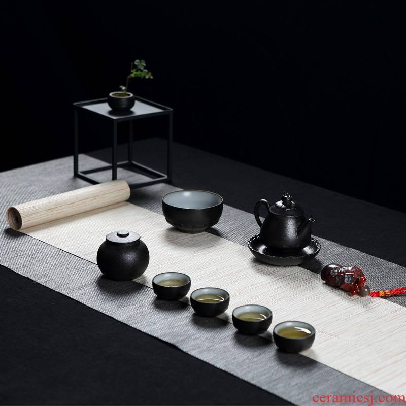 Jingdezhen kung fu tea set suit household creative retro grind arenaceous black glaze ceramic teapot small cups of tea cups