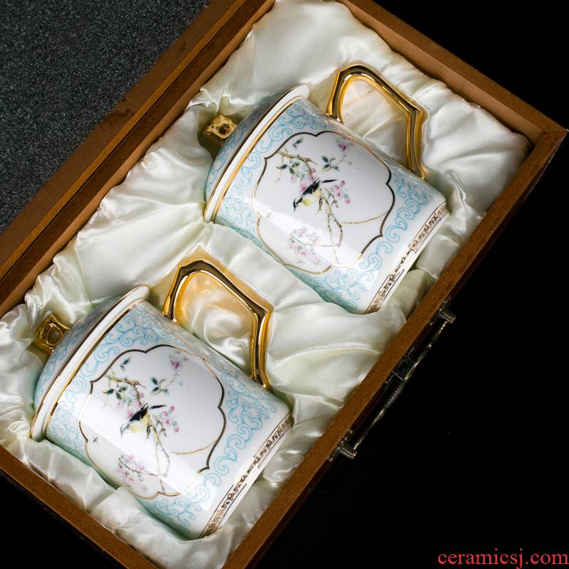 Jingdezhen tea cups porcelain enamel paint men ultimately responds a cup of office cup with cover cup to send a gift boxes