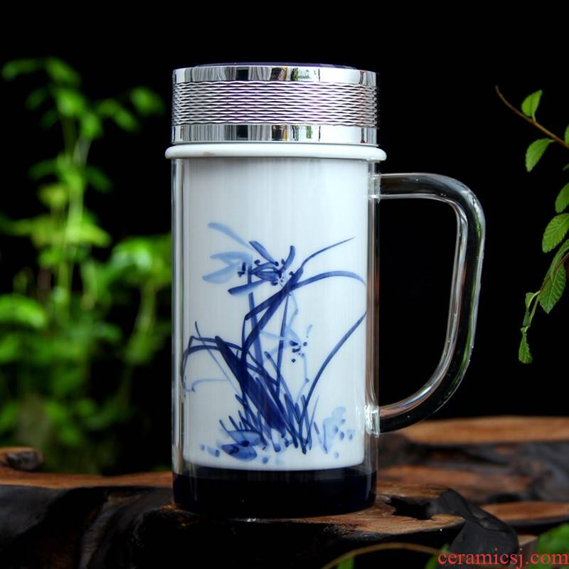 Jingdezhen ceramic vacuum glass crystal cup handle cup double tank cup office of blue and white porcelain cup
