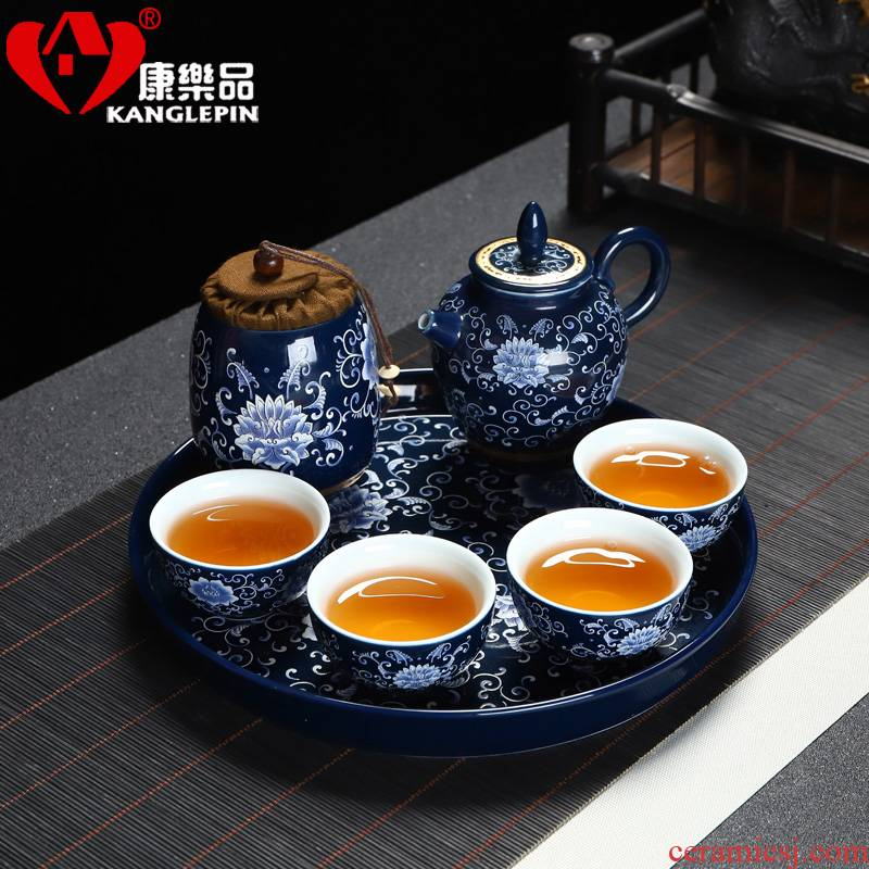 Recreation travel product blue - and - white kung fu tea set mini four cup teapot receives a pot of jingdezhen ceramic tea tray