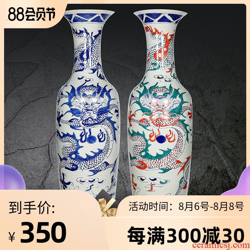 Blue and white porcelain of jingdezhen ceramics carved dragon vase of large sitting room adornment is placed hotel opening hotel