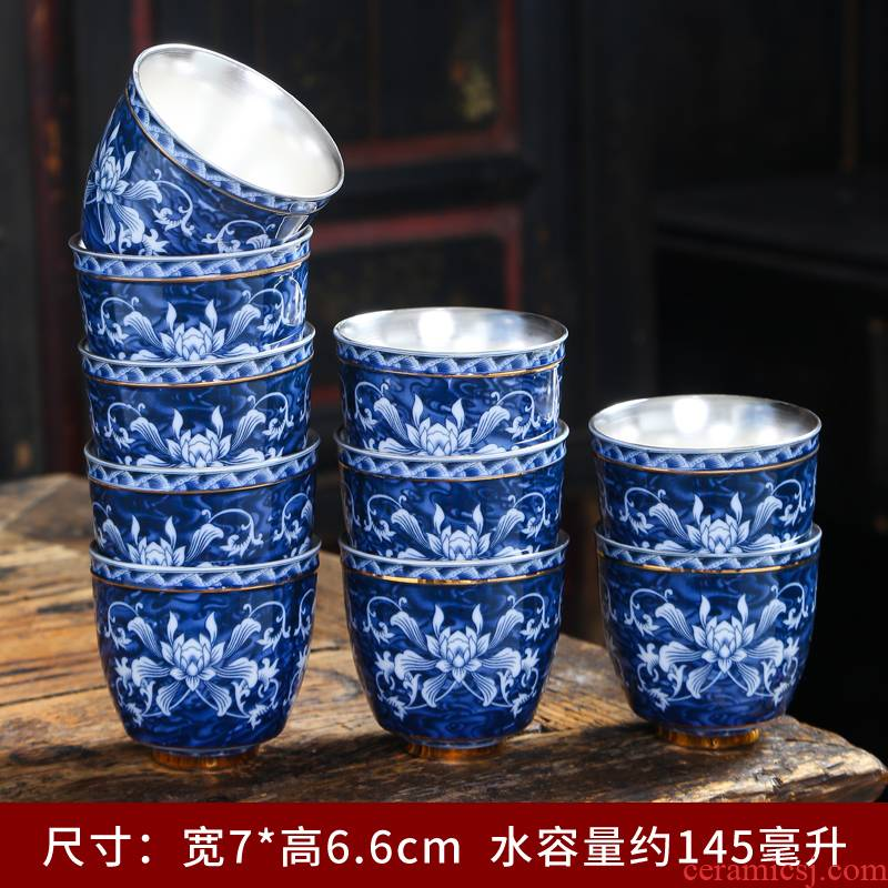Tasted silver gilding large blue and white porcelain ceramics kung fu tea cups antique Japanese tea master cup tea cups