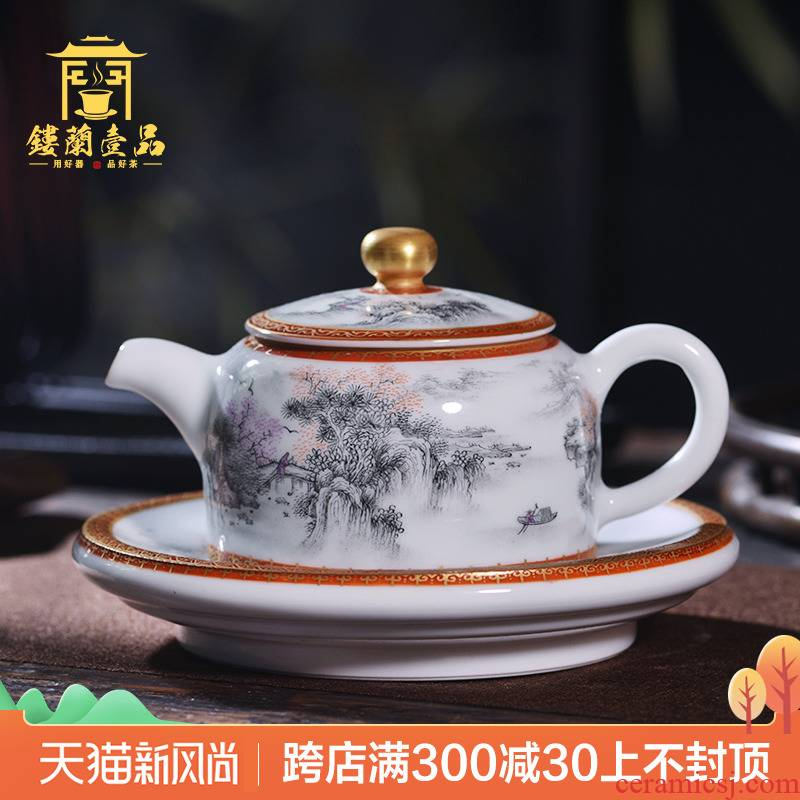 Jingdezhen all hand paint ceramic ink in the jiangnan chunxiao ewer kung fu tea set a tray at the teapot