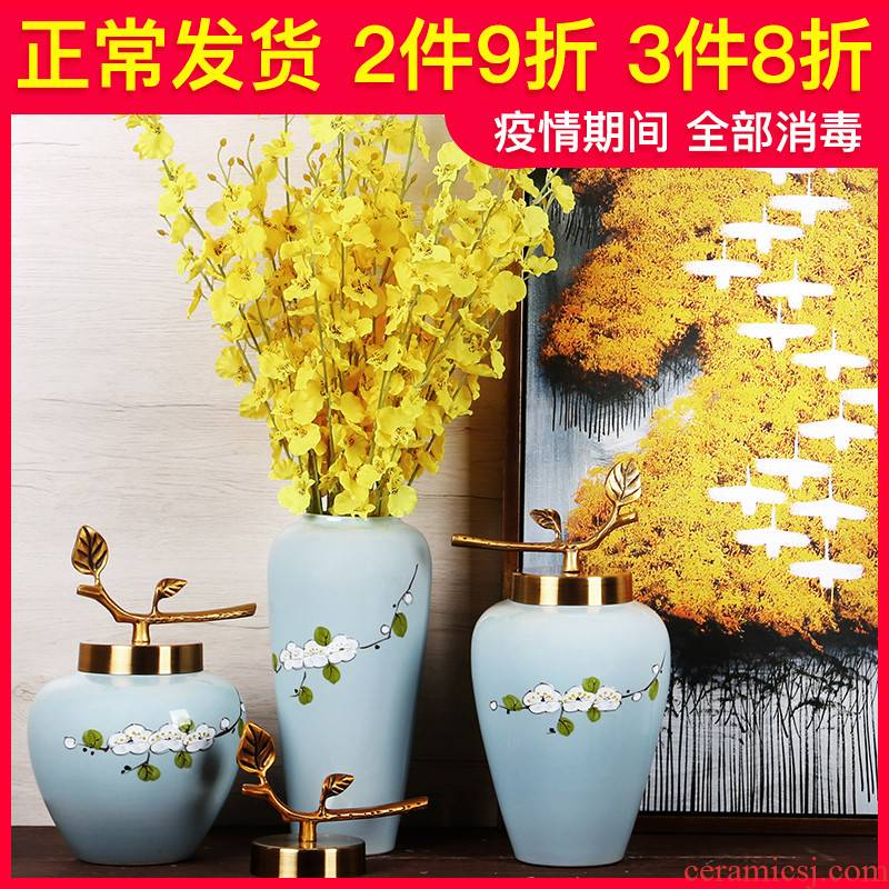 Jingdezhen ceramics vase furnishing articles suit creative manual Chinese dried flowers flower arrangement sitting room European arts and crafts