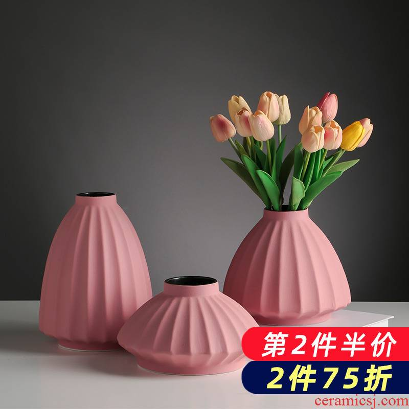 Floret bottle ceramic creative Nordic dry flower arranging flowers light key-2 luxury home furnishing articles contracted and I living room table decorations