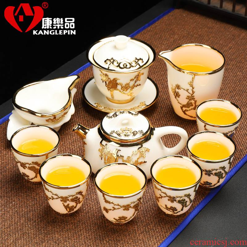 Recreational product an inset jades kung fu tea set household suet jingdezhen porcelain office gifts pot cup the lounge