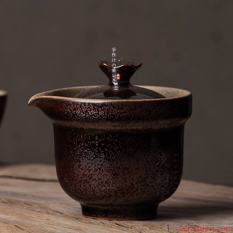 Poly real view jingdezhen pure manual black pottery teapot zen diablo gold glaze oil droplets coarse pottery hand grasp pot without a tureen