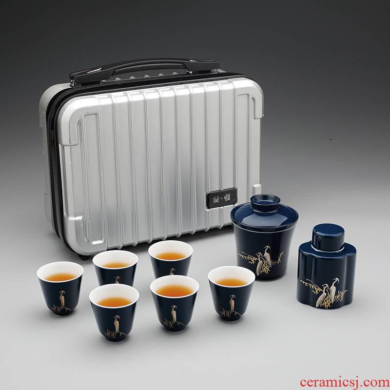 Jingdezhen ceramic kung fu tea set household car travel tea set gift set tea service portable package