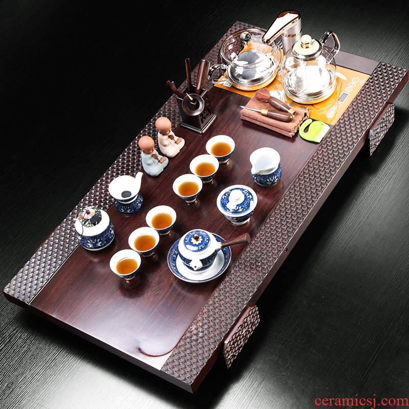 High - end ebony wood violet arenaceous extra large Chinese kung fu tea set suit household ceramics office four unity