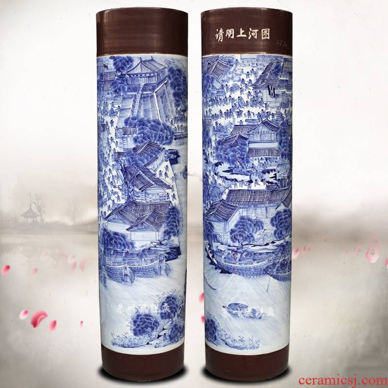 Jingdezhen ceramics qingming scroll quiver hand - made landing big vase sitting room hotel opening furnishing articles