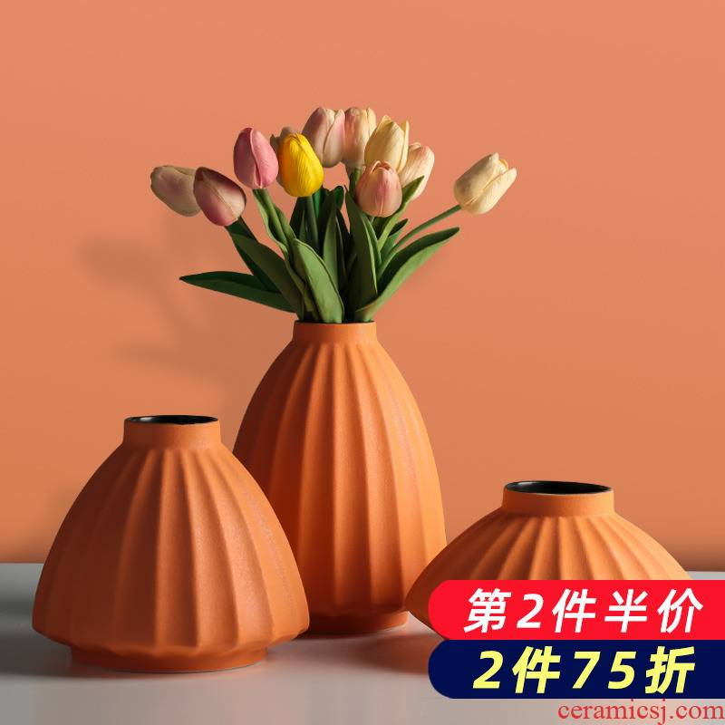 Ceramic creative Nordic ins floret bottle wind dried flowers flower arrangement furnishing articles household decorates sitting room porch decoration hydroponics