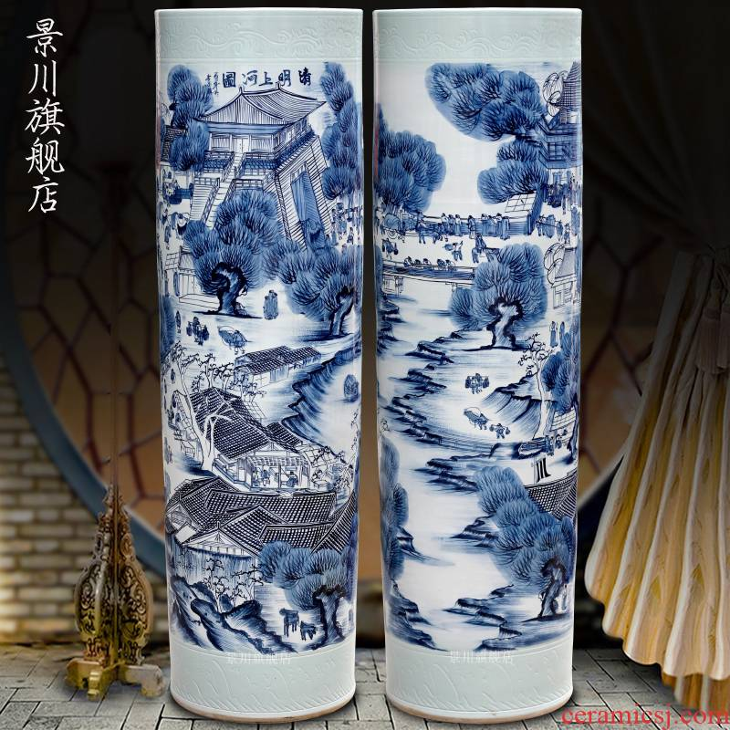 Blue and white porcelain of jingdezhen ceramics hand - made ching Ming vase painting of large sitting room of Chinese style household quiver