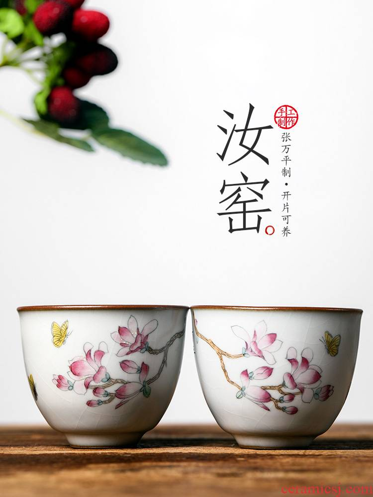 Jingdezhen kung fu tea masters cup your up hand - made yulan double butterfly ceramic sample tea cup pure manual single cup of tea