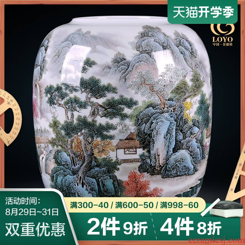 Jingdezhen ceramics vase famous hand - made pastel riverside fishing Chinese style porch TV ark adornment furnishing articles
